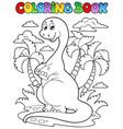 coloring book dinosaur scene 2 vector image vector image