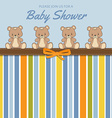 Delicate baby shower card with teddy bears vector image vector image