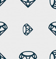 Diamond Icon sign Seamless pattern with geometric vector image vector image