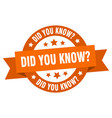 did you know ribbon did you know round orange vector image vector image