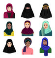different muslim arab women vector image vector image