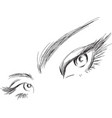 female eyes drawing long eyelashes vector image vector image