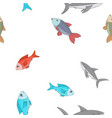 fishes seamless pattern hand drawn sketch vector image