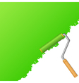 green background with paint roller vector image vector image