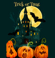 halloween trick treat pumpkin greeting card vector image