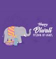happy diwali festival elephant candle diya lamp vector image vector image