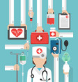 healthcare flat design card with doctor vector image vector image