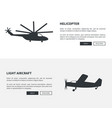 helicopter and light aircraft set black banners vector image