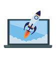 laptop with a rocket icon cartoon vector image vector image