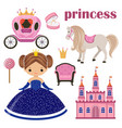 little princess castle and carriage vector image