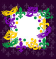 mardi gras elegant frame place for your text vector image vector image