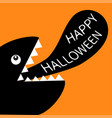 monster black head silhouette with eye fang tooth vector image