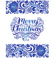 ornate merry christmas lettering on gzhel vector image vector image