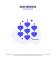 our services heart love chain solid glyph icon vector image