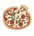 pizza hand drawn doodle color vector image vector image