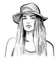 pretty girl portrait blonde woman with hat vector image vector image