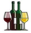 red and white wine vector image vector image