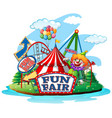 scene with clown in fun fair on white vector image vector image