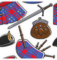 scottish national outfit elements seamless pattern vector image vector image