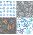 set 4 seamless snowflake pattern vector image