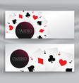 set casino banners with playing cards vector image vector image