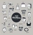 set of clothing icons doodle vector image vector image