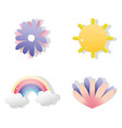 set paper art icons vector image