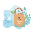 shopping bag market environment ecology cartoon vector image