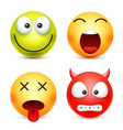 smiley set greenhappz devil emoticon yellow vector image