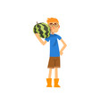 smiling male farmer with watermelon cheerful vector image vector image