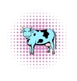 Spotted cow icon comics style vector image vector image