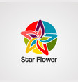 star flower logo icon element and template vector image