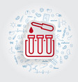 test tube laboratory icon on handdrawn vector image