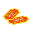 Two tickets isometric 3d icon vector image