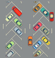 urban cars seamless texture parking with cars vector image