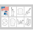 USA coloring book Patriotic in linear style of pa vector image vector image
