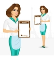 waitress holding empty blank banner vector image vector image