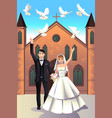 wedding couple releasing white doves vector image vector image