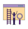 woman website stairs and magnifying glass vector image vector image