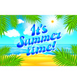 Beautiful landscape with text Summer time Summer vector image