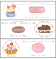 Watercolor sweet cakes tags labels Banners set vector image