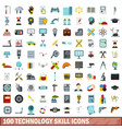 100 technology skill icons set flat style vector image vector image