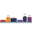 airport conveyor belt with passenger luggage in vector image