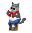 animated gray wolf sitting on a wooden stool vector image