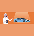 arab seller man present new car dealership center vector image
