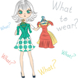 Beautiful surprised fashion girl trying on dresses vector image