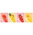 big set of labels with fruit splash of juice vector image vector image