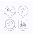 Biking tennis and golf icons vector image