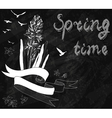 Blackboard chalk Spring Background with hyacinth vector image