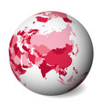 blank political map of asia 3d earth globe with vector image vector image